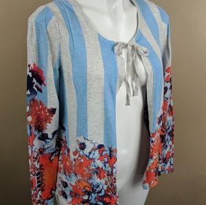 Vera Wang Floral Tie Cardigan Sz Med